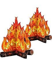 Fogata de Cartón Decorativa 3D Fuego Artificial de Centro de Mesa Llama Falsa Fiesta de Papel Decorativa Antorcha de Llamas (Naranja Dorada, 2 Juego)