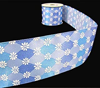 3 Yards Summer Spring Daisy Flower Blue Jester Diamond Wired Ribbon Lace Trim Embroidery Applique Fabric Delicate DIY Art Craft Supply for Scrapbooking Gift Wrapping 2 1/2