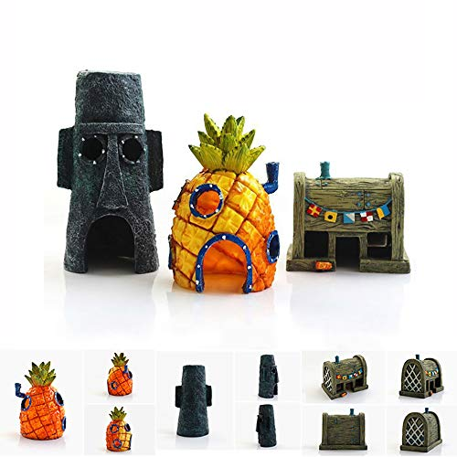 Ishowstore Aquarium Decor Spongebob Aquarium Dekoration Set Aqua Ornaments Aquariendekoration