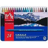 Caran d'Ache - FIBRALO - Assortimento 24 Pennarelli Colorati con Scatola in Metallo 185.324