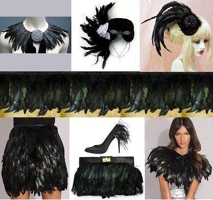 Tira de plumas negras para ropa, 45 cm
