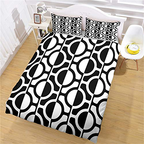 YCLJFQY Duvet Cover Set Single 3D Printed Black And White Art Print Microfibre Super Soft Duvet Cover 140X200cm With 2 Pillowcases 50X75cm Comfortable Bedding Set With Zipper Closure