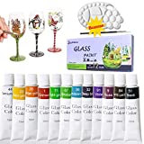 Lasten 12 Colors Stained Glass Paint with Palette and Pen, Craft Paints for Glass Wood Met...