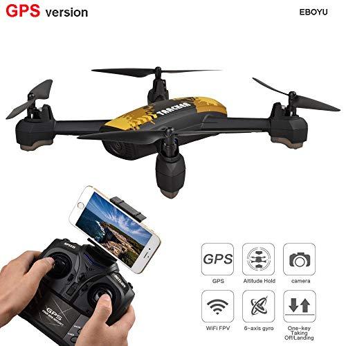 Thboxes JXD 518 GPS Drone 2.4G 4CH 720P Videocamera HD WiFi FPV GPS Punto di Estrazione Altitudine Hold RC Quadcopter Drone RTF Giallo