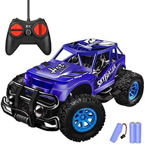 Remote Control Car for Kids - Durable Non-Slip Off-Road Shockproof High Speed RC Racing Car - All Terrain Eletronic RC Car Toy Gifts for 3 4 5 6 7 8 Year Old Boys Girls Teens (Dark Blue)