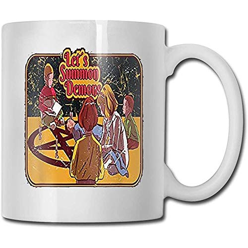 Water sap beker, grappige keramische koffie mokken, nieuwigheid witte thee mok, laten we Summon Demons Halloween Horror Scarry kostuum porselein beker, voor verjaardag, 11 Oz, unieke verjaardagscadeau