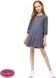 CupofSweet Girls Cropped Sleeves Button Neck Ruffled Dress