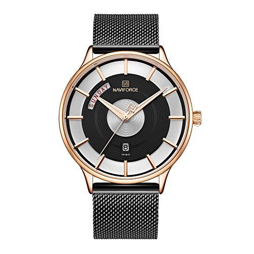Naviforce 3007 - Reloj de pulsera para hombre, multifunción, movimiento de cuarzo, resistente al agua, correa de acero inoxidable, diseño minimalista
