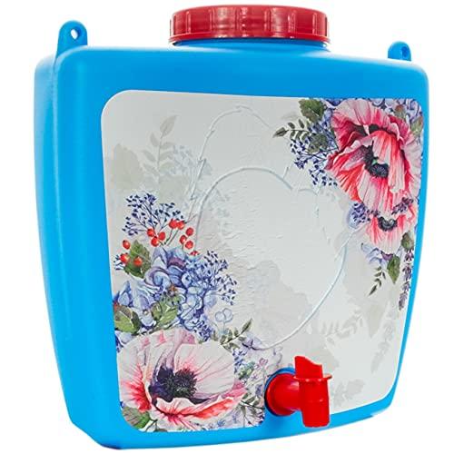 4Big.fun Wasserspender 9 L mit Wasserhahn Camping Gartenhaus Datscha Rukomojnik Kanister blau