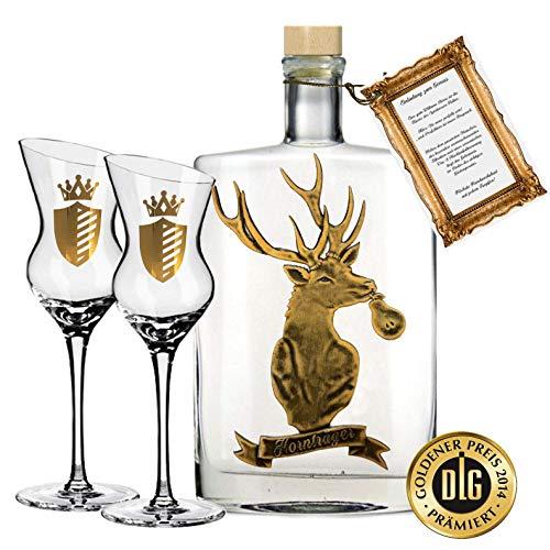 Hornträger Williamsbirne exklusiv Geschenkset inkl. 2 geschrägten Obstbrand-Gläsern für Männer & Jäger Williams Geschenk Geburtstag Weihnachten