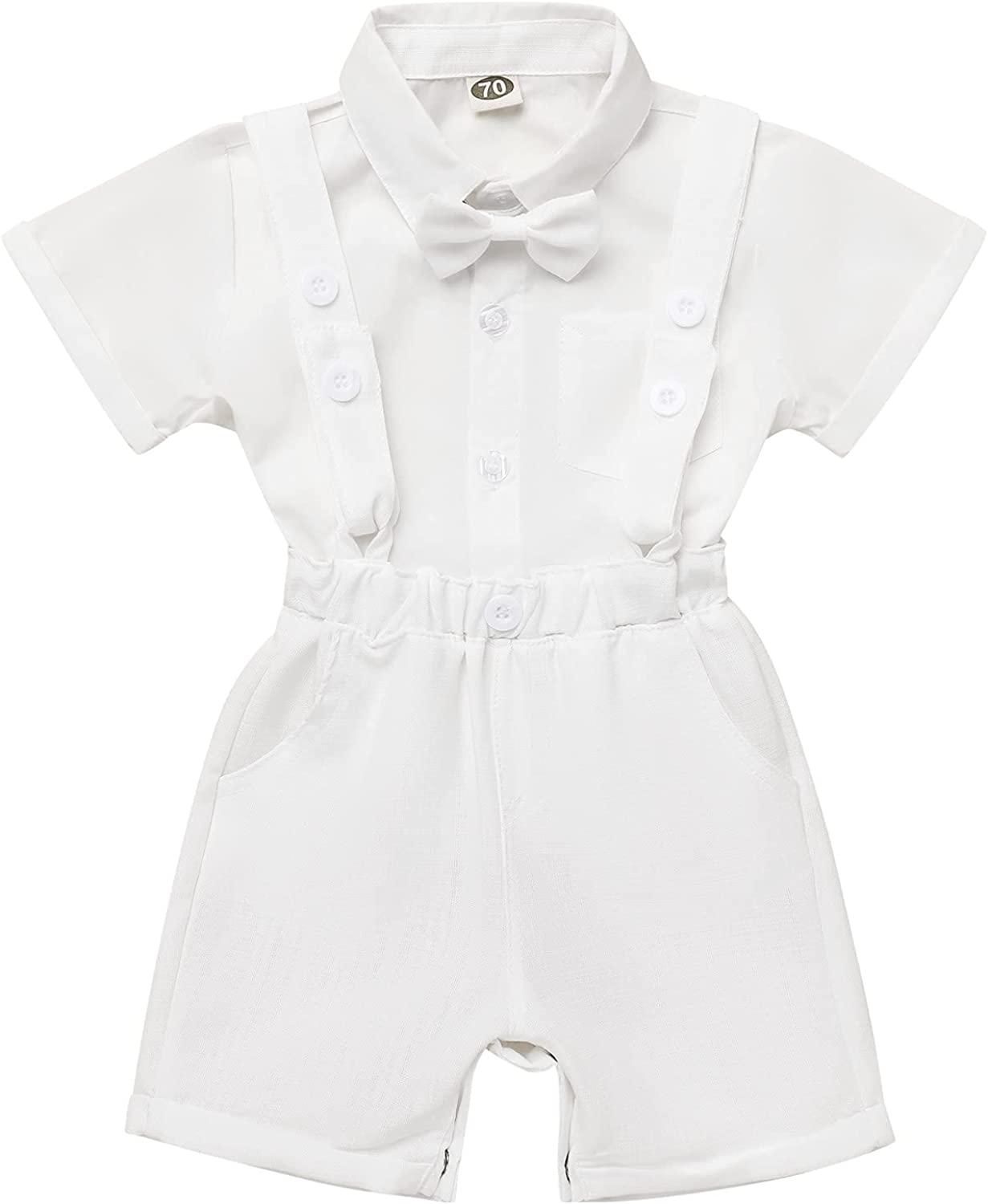 Baby Boys Baptism Christening Outfit Bowtie Romper Suspenders Pants Wedding Party Tuxedo Suit Ring Bearer Clothes Set