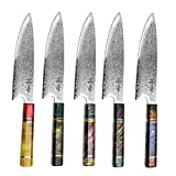 Damascus Chef Knife Gyuto Hajegato Unique One Of Kind Handle Professional 8 Inch Japanese Chefs Kitchen Knife...