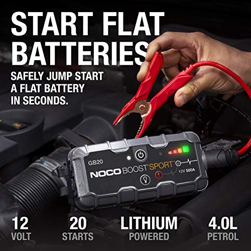 NOCO Boost Sport GB20 500 Amp 12-Volt UltraSafe Portable Lithium Jump Starter, Car Battery Booster Pack, And Jump Leads…