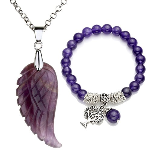 Top Plaza Reiki Healing Crystal Quartz Gemstones Jewelry Angel Wings Carved Stone Pendant Necklace Tree of Life Charm Stretch Bracelet Set-Amethyst #1