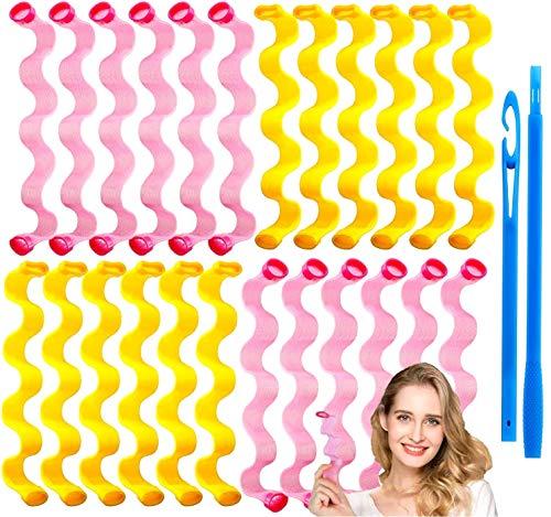 24pcs Rizos Espirales Kit, Rizadores de pelo mágicos en esp