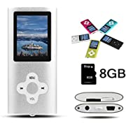 Btopllc MP3-Player, MP4-Player, digitale Musik-Player 8GB interne Speicherkarte, tragbare und kompakte MP3/MP4-Musik-Player, Media Player, Video Player, Video, Ebook, Bild Musik-Player - Silber