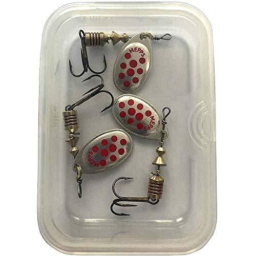Mepps - Cucchiaino speciale per pesca alla trota Aglia, multicolore, ARGENT POINTS ROUGES PAR 3, 3