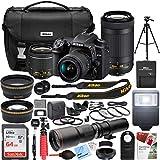 Nikon D7500 4K Ultra HD DSLR Camera with AF-P DX 18-55mm f/3.5-5.6G and 70-300mm f/4.5-6.3G NIKKOR Lens Kit + 500mm Preset f/8 Telephoto Lens + 0.43x Wide Angle, 2.2x Pro Bundle