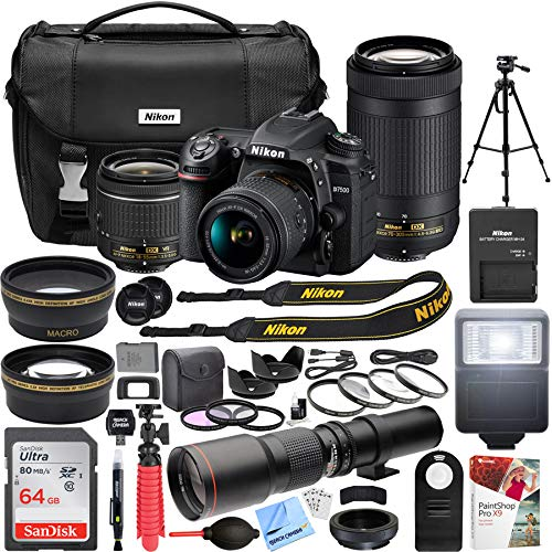 Nikon D7500 4K Ultra HD DSLR Camera with AF-P DX 18-55mm f/3.5-5.6G and 70-300mm f/4.5-6.3G NIKKOR Lens Kit + 500mm Preset f/8 Telephoto Lens + 0.43x Wide Angle, 2.2x Pro Bundle