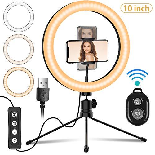 LED-Ringlicht Selfie Licht,Mansso Ringleuchte mit Handy Stativ und Fernbedienung,Led Licht Tischringlicht mit 3 Farbe und 10 Helligkeitsstufen,Live Licht für Fotos, Tiktok,YouTube, Vlog,Makeup