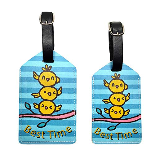 PU Leather Luggage tag Suitcase Baggage ID Label Card Holder Perfect for Travel-Set of 2 (Best time)