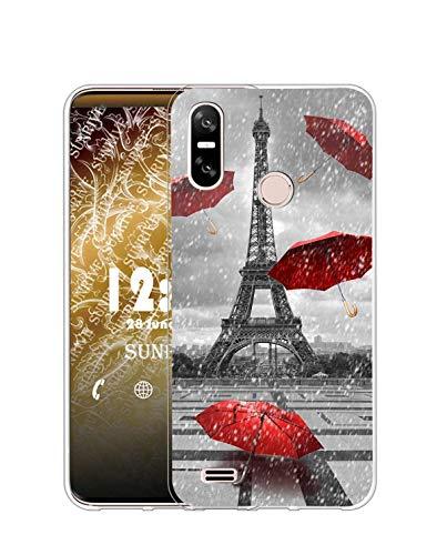 Sunrive Funda Compatible con Ulefone S9 Pro, Silicona Slim Fit Gel Transparente Carcasa Case Bumper de Impactos y Anti-Arañazos Espalda Cover(Q Torre de Hierro)