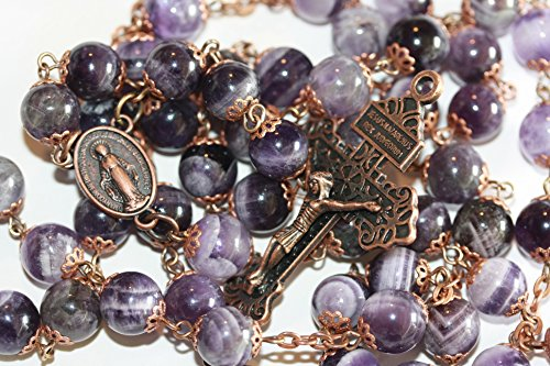 10mm Nonfaceted Chevron Amethyst and Copper 10mm 5 Decade Stone Bead Rosary with Pardon Crucifix Made in Oklahoma
