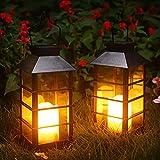 Outdoor Solar Laterne, 2 Stück Garten Hängend Solarleuchte mit Deko-Kerze Solarlampen für Außen Wasserdicht Kunststoff Dekorative LED Laterne für Terrasse Veranda Hof Weihnachten (Schwarz)