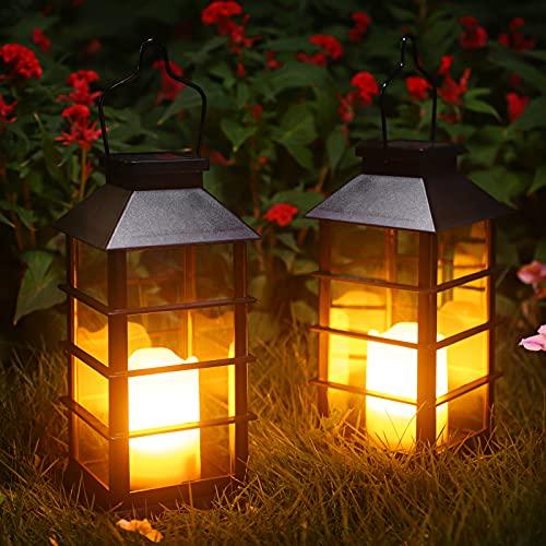 Linterna Solar Exterior Lámpara de Jardín, juego de 2, IP44 Impermeable Luces LED Parpadeantes Sin Llama Plástico Exterior Decorativa Iluminación para Mesa Patio Festival Navidad (Negro)