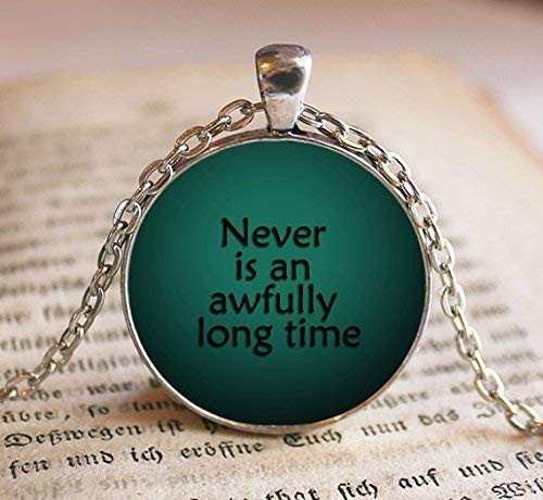 Nunca es un collar de larga duración con cita de Peter Pan, Peter Pan Quote,...
