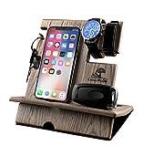 KROLLWOOD Wooden Phone Stand, Docking Station, Desk Organizer, Charging Dock, Tablet Holder, Watch Stand (Natural Solid Oak, Espresso)