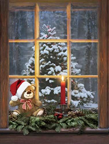Wandbild mit Musik und Beleuchtung <> Weihnachten <> Weihnachtsbärchen <> Tannenbaum mit Schnee <> Gesteck mit Kerze