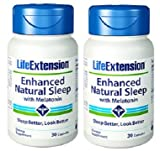 Life Extension Enhanced Natural Sleep with Melatonin Capsules, 30 Count (2 Pack)