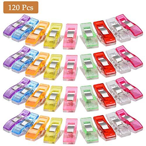 POKIENE Alicates de Clips 120 Piezas, Alicates Antideslizantes, Alicates de Costura de Tela Plástica DIY, Alicates de Costura Sólidos para Encuadernación - Colores Surtidos 2.7 * 1 * 1.5 CM