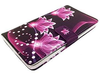 for LG Lancet VW820 Wallet Pouch Card Holder Phone Case + Happy Face Phone Dust Plug  Wallet Purple White Lotus