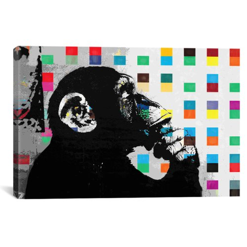 iCanvasART The Thinker Monkey Dots Close Up by Banksy Canvas...