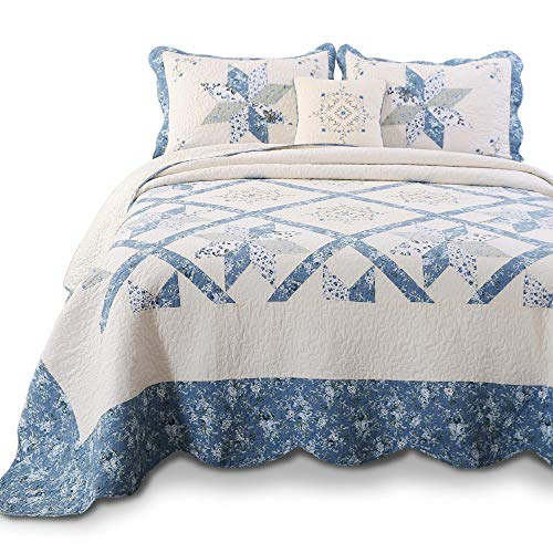 KASENTEX Luxurious Patchwork Bedspread Embroidery Coverlet 100% Cotton Quilt Machine Washable Oversize Full(Blue, 96x110in)
