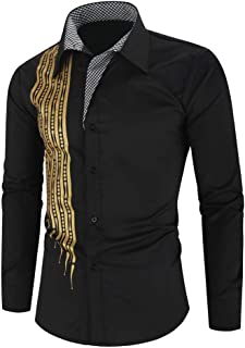 Holzkary Men's Dress Shirt Fashion Print Splicing Tops Casual Long Sleeve Lapel Collar Button Down Shirts