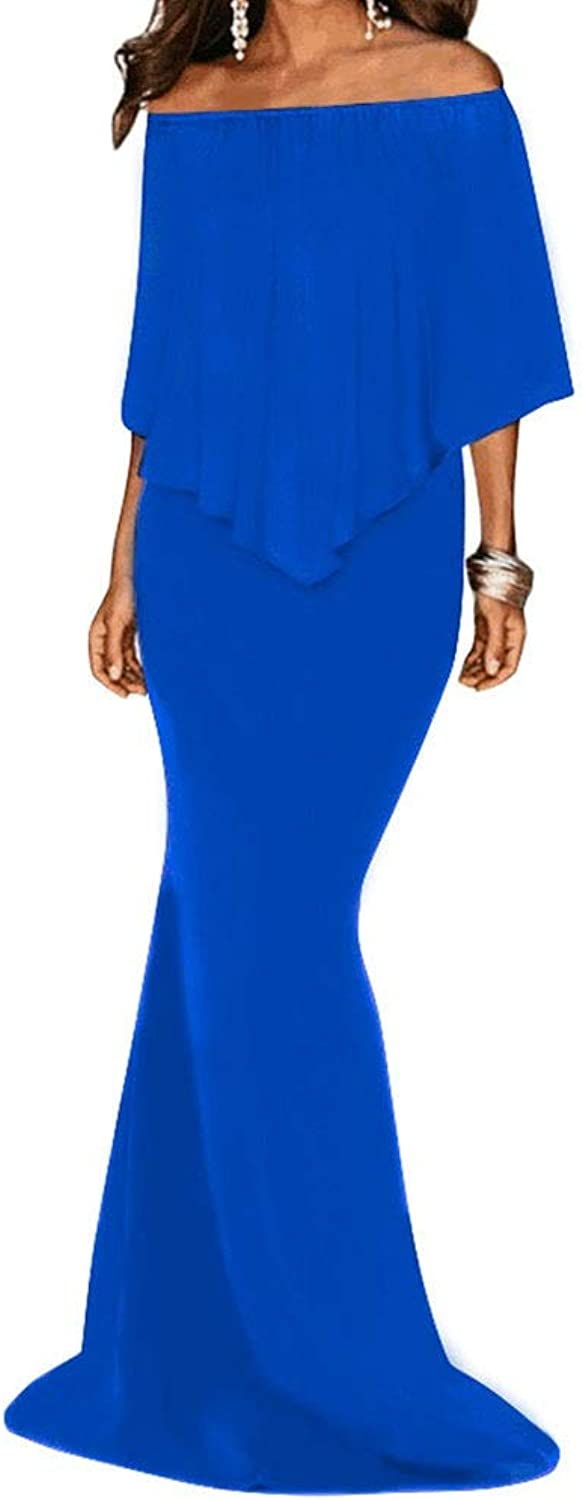 CEFULTY Women's Off Shoulder Ruffle Sleeve Bodycon Mermaid Dress (color   bluee, Size   L)