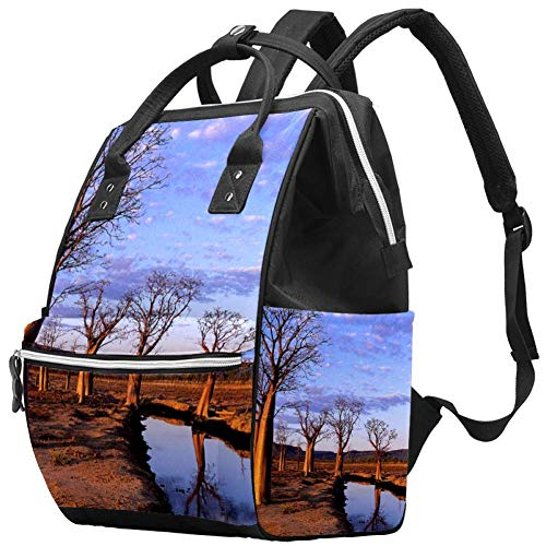 Arbres frais dans le désert Nappy Changing Bag Diaper Sac à dos avec poches isolées, sangles de poussette, grande capacité multifonctionnel élégant sac à couches pour maman papa en plein air