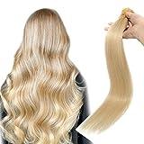55cm - Extensiones Cabello Humano de Queratina 0.5g *100 Mechas U Tip Hair Extensions Remy Human Hair - 613# Blanqueador Rubia