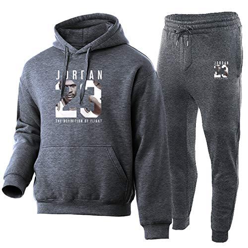 TYYD Jordania 23# Hombres de 2 Piezas Conjuntos de 2 Piezas, Sudaderas con Capucha de Baloncesto + Pantalones de cordón otoño Invierno abrigado Suelto Jersey Ropa Deport Grey-L