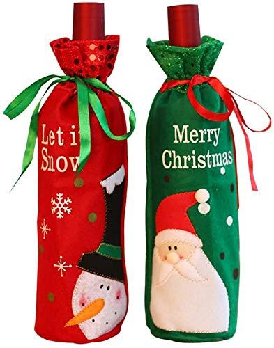 Jinlaili 2PCS Cubierta de la Botella de Vino de Navidad, Funda Navideña para Botellas, Decoración Cubierta Botella Vino, Decoración Hogar de la Mesa de Cena para Las Fiestas de Navidad