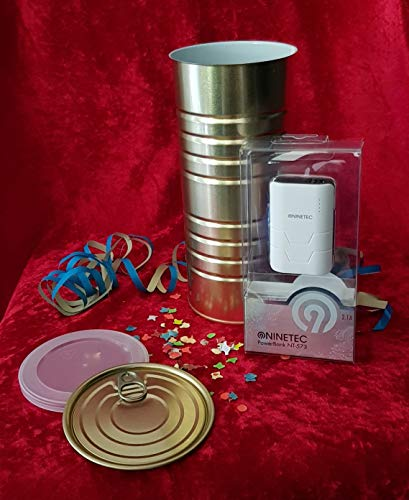 Cadeau-idee: NINETEC NT-573 5.400 mAh powerbank - verpakt in een doos! (met lekdeksel + plastic deksel voor hergebruik) - zwart - 2x USB-laadaansluiting - mobiele oplader