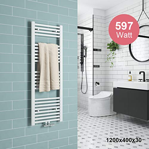 Meykoers Badheizkörper 1200x400mm Handtuchtrockner Heizkörper 597 Watt Weiß Bad Mittelanschluss Handtuchwärmer Heizung Radiator