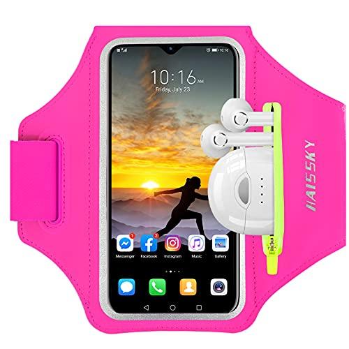 HAISSKY Brazalete Deportivo para Correr con Bolsa de Auriculares, Brazalete Móvil Deportivo Ajustable para iPhone 12 11 Pro XS MAX XR X, Galaxy S10 Plus/S10e, hasta 6,5' (Rosa)