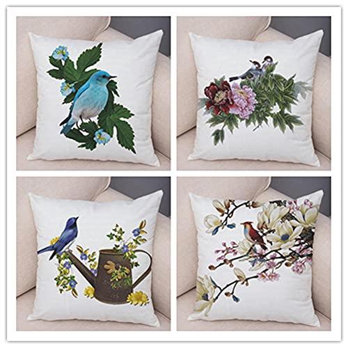 Funda de Almohada 4 Piezas Flores y pájaros Decorativos Funda de Almohada 4 Piezas Lino Terciopelo Funda de cojín,para Almohada para Cojines Decorativos para Salon Jardín Cama Coche 45x45cm(18x18in)