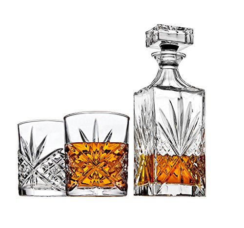 Whiskey Decanter Set with 2 Old Fashioned Whisky Glasses for Liquor Scotch Bourbon or Wine - Irish Cut