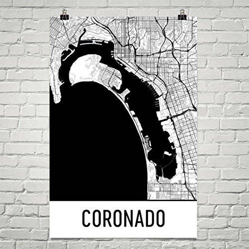 Coronado Map Coronado Art Coronado Print Coronado Ca Poster San Diego Wall Art Coronado Gift Map Of San Diego Poster 12 X18 Posters Prints
