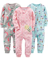 Simple Joys by Carter's Baby Girls' 3-Pack Snug Fit Footless Cotton Pajamas, Ballerina/Moon/Bee, 6-9 Months